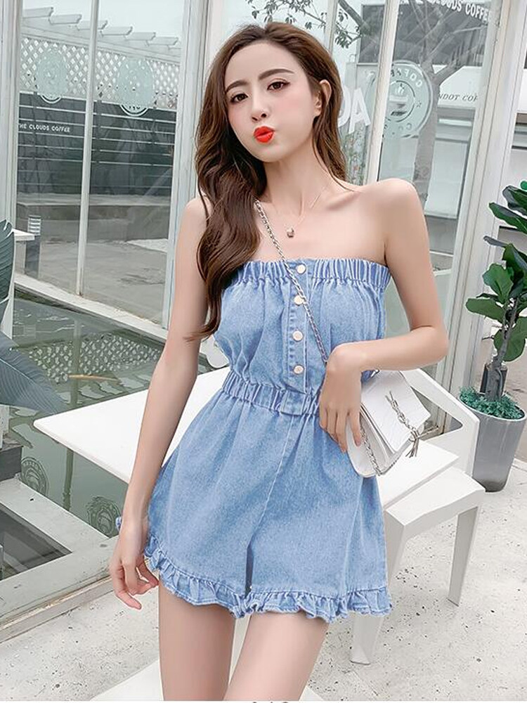 (PRE ORDER) WOMEN GENTLE WIND SEXY TUBE TOP JUMPSUIT