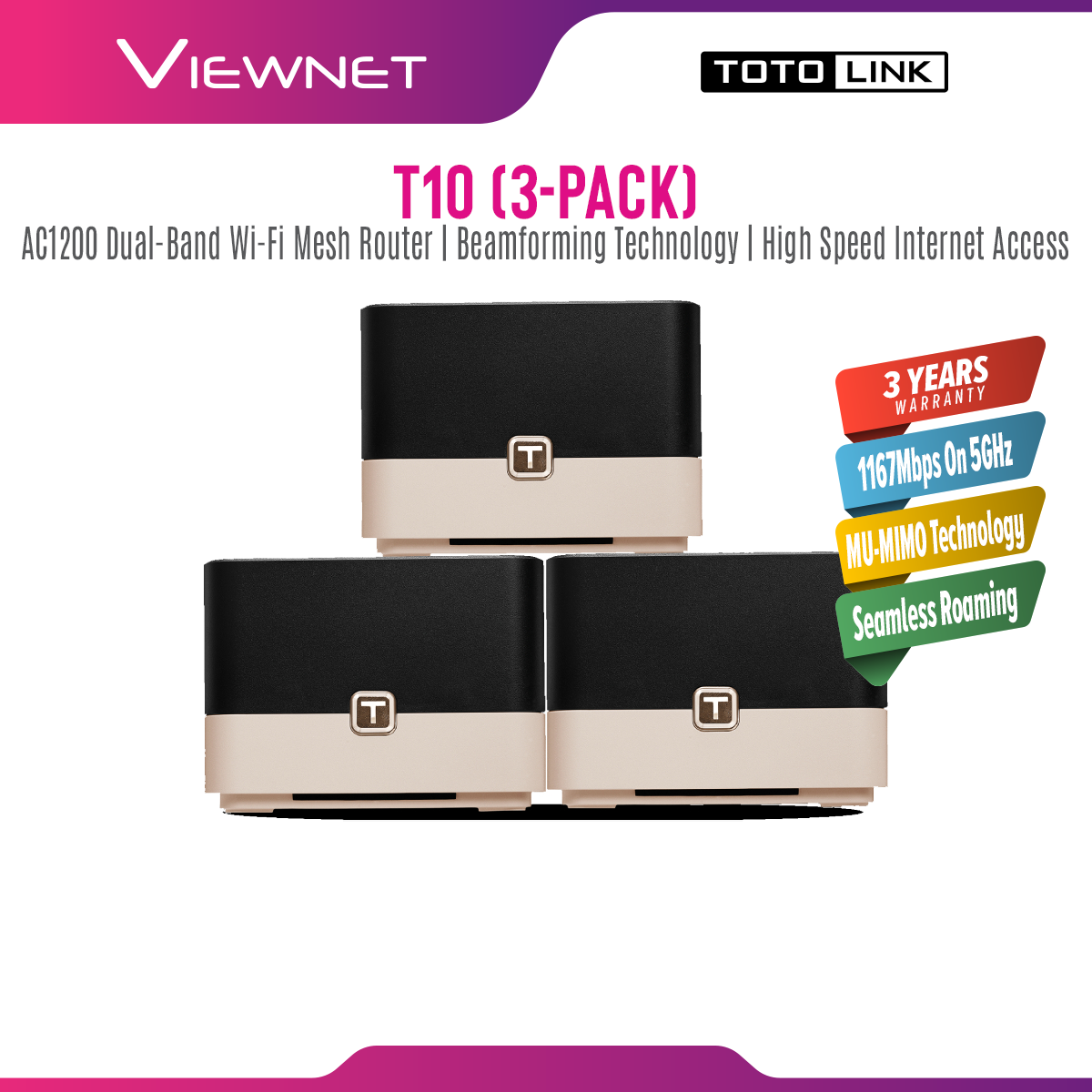 TOTOLINK T10 Gigabit AC1200 Whole Home Mesh WiFi System Router (3 Pack) - Dual Band, MU-MIMO Technology, Seamless Roaming, Up to 4,500 sq. ft. Coverage , Support TM Uniif , Time Fibre , Maxis Fibre