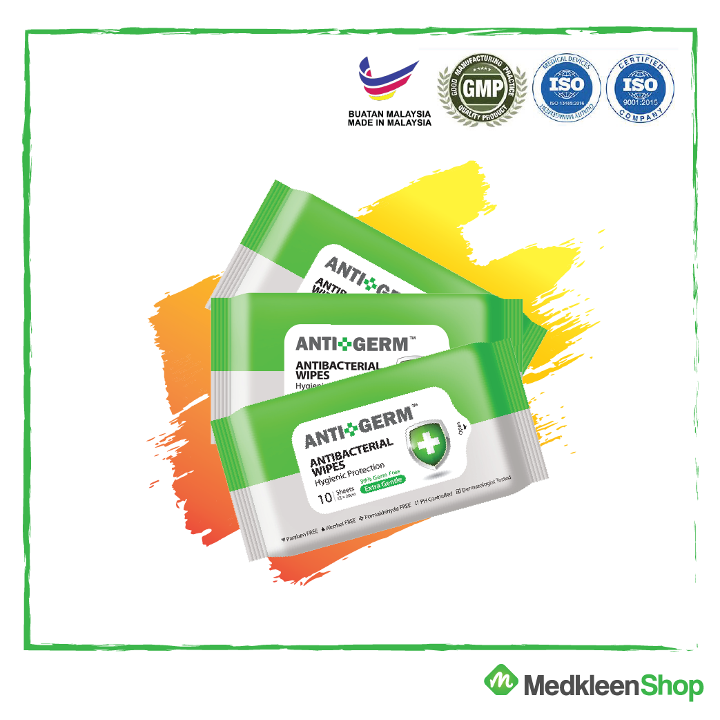 Antibacterial Sanitizing Wipes, Combo Packs (10s x 3), Antigerm, Extra Gentle, Natural Fibre Wipes