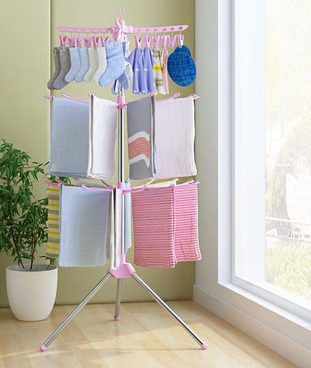 3 Layer Clothes Drying Rack Folding Save Space Rack Laundry Stand Hook Rotating