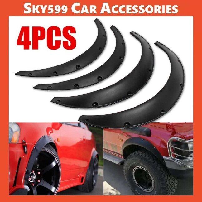 Universal Car Fender Flares Flexible Yet Durable Polyurethane Black Carbon 4PCS