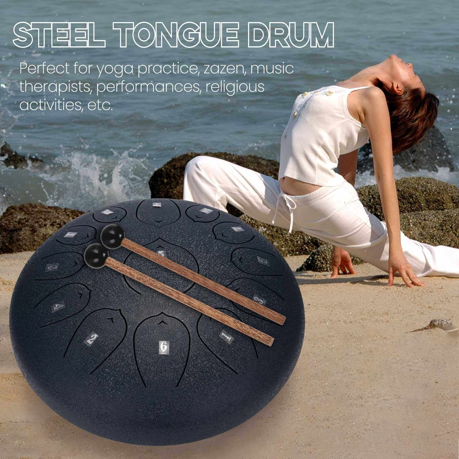 12 inch 13-Tone Steel Tongue Drum Mini Hand Pan Drums with Drumsticks Percussion Musical Instruments (Silver)