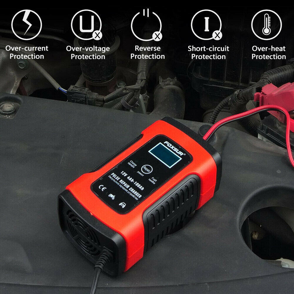 Car Battery Charger 12V 5A LCD Intelligent Automobile Motorcycle Pulse Repair