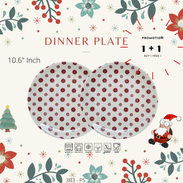 Buy 1 Free 1-Christmas Promotion-3B3PS-FLOWER RED-Dinning set-Christmas Gift-1212Promotion-PLATE
