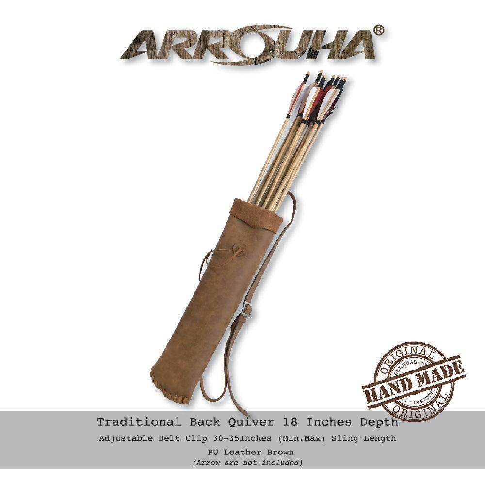Arrouha Traditional Back Quiver Brown 18 Inches Hold Up Dozen Arrows