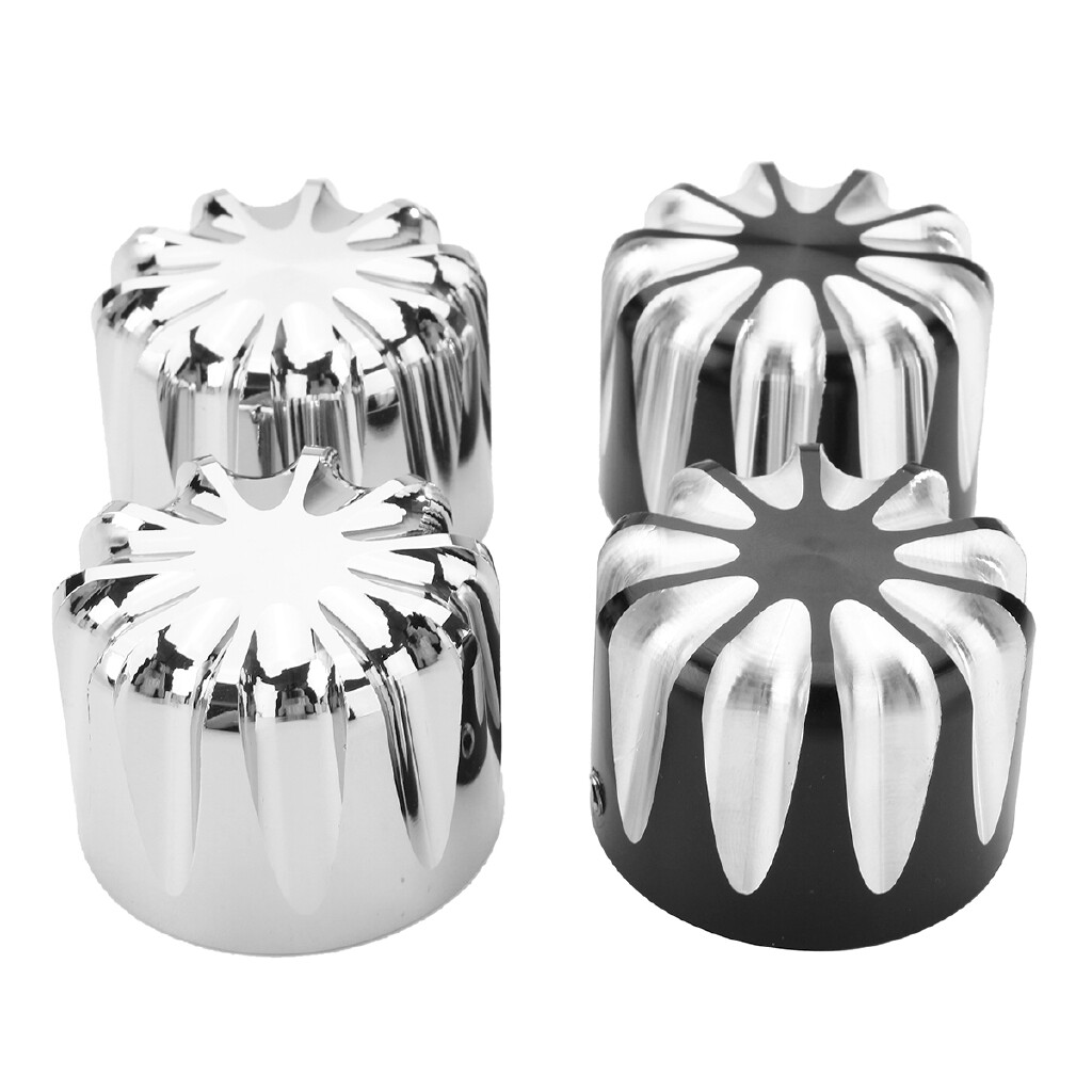 Moto Accessories - 2xCNC Deep Edge Cut Front Axle Nut Cover Bolt For Harley Electra Street Road - SILVER / BLACK