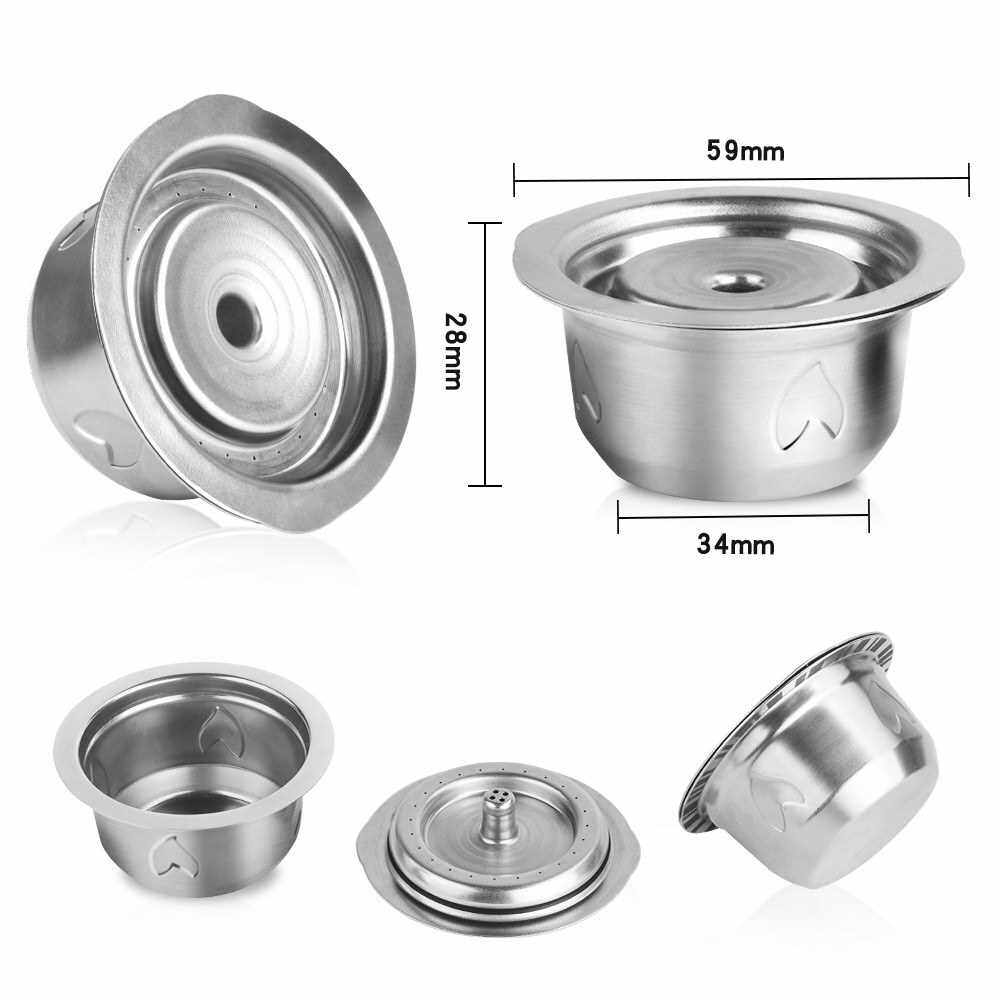 Stainless Steel Capsule Reusable Capsule Pods Set with Powder Tamper & 2 Spoons & Brush Replacement for NESPRESSO Vertuoline GCA1 Delonghi ENV135 ENV150 and VertuoPlus BNV450WHT1BUC1 (Silver)