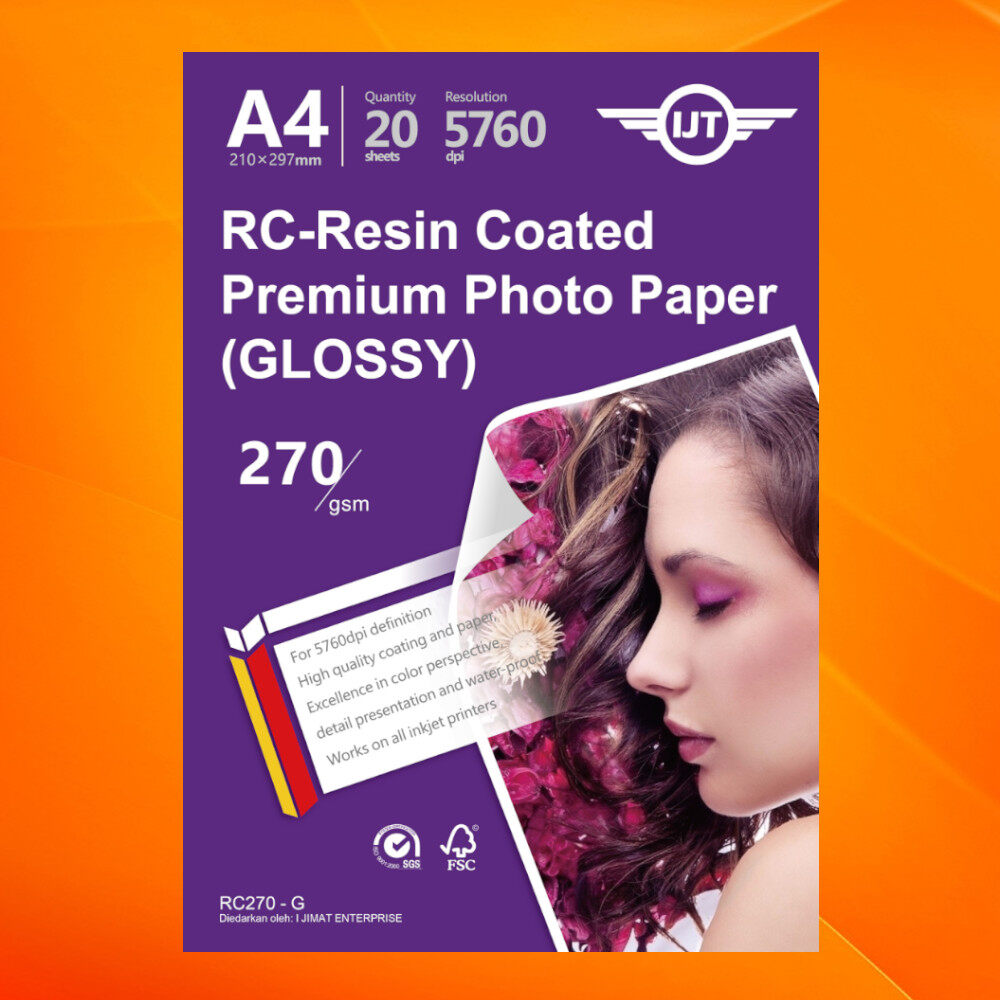 RC - Resin Coated Premium High Quality Inkjet RC Photo Paper A4 270gsm 270g 20sheets 20's (GLOSSY)