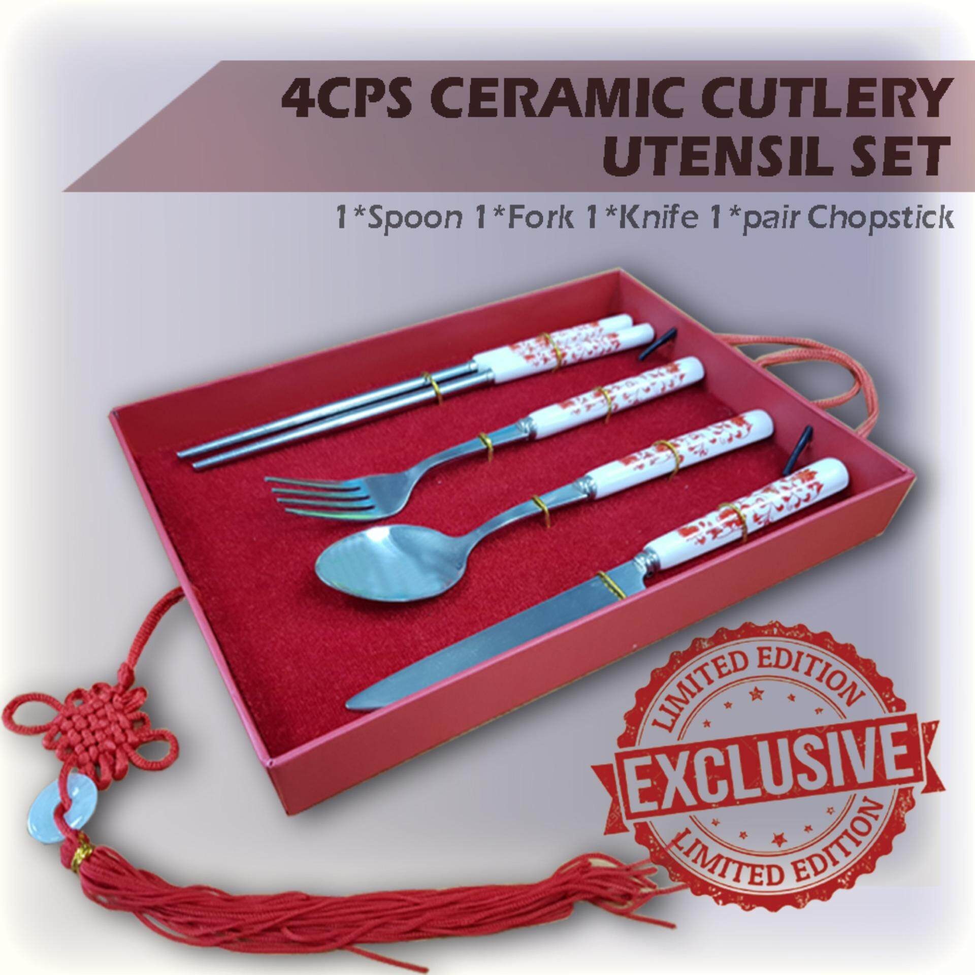 [Ready Stock] BCG Malaysia 4PCS Ceramic Cutlery Utensil Set with Stainless Steel Spoon and Fork and Knife and 1 pair Chopstick
