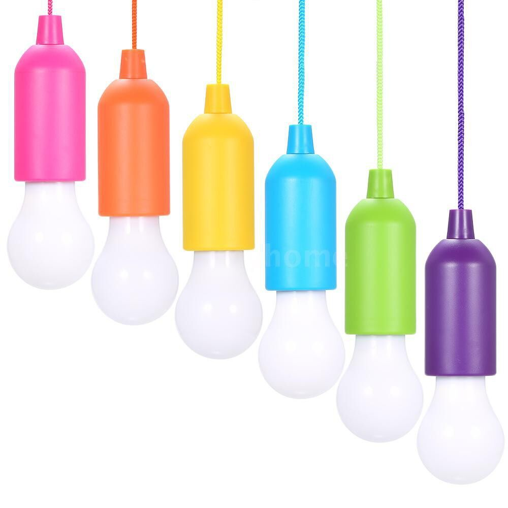 Lighting - 4.5V 0.5W LED Bulb Pull-Rope Switch 3 AAA Battery Powered Operated Hanging Design 6 Pack - WHITE