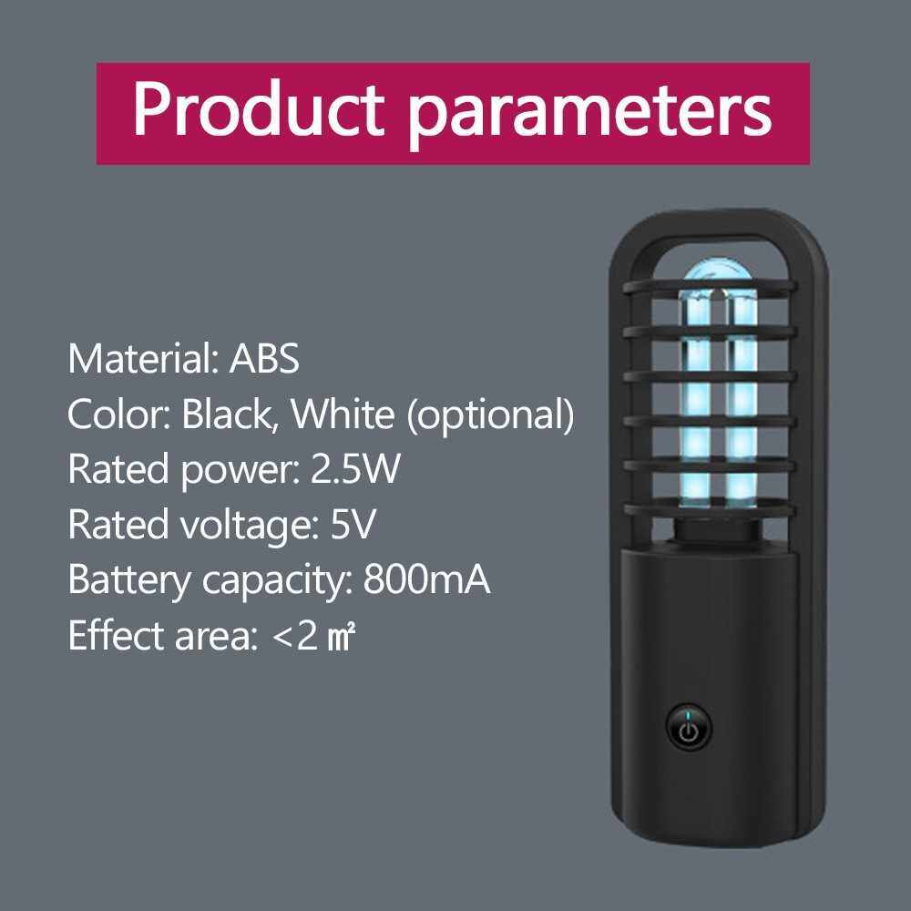Portable UV Sterilizing Lamp USB Sterilizer Light Rechargeable Ultraviolet UVC Sterilizer LED Light Germicidal Disinfection Lamp Ozone Bactericidal (White)