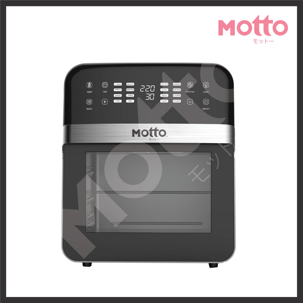 【Ready Stock In Malaysia】Motto Latest Japan Technology Technovat Air Fryer (12 L) Free Cage Tong, Chicken Fork, Wire Rack Mesh Basket, Basket, Drip Tray, Rolling Cage