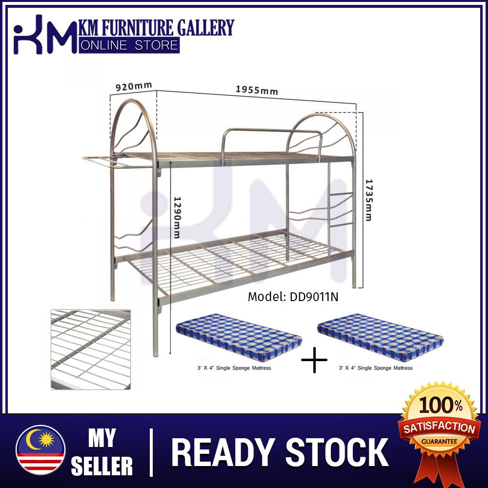 KM Furniture Gallery 3V Double Decker Bed Frame (DD9011N) With Mattress/ Katil Size Double Decker Termasuk Tilam KMDD9011N3X4SMX2