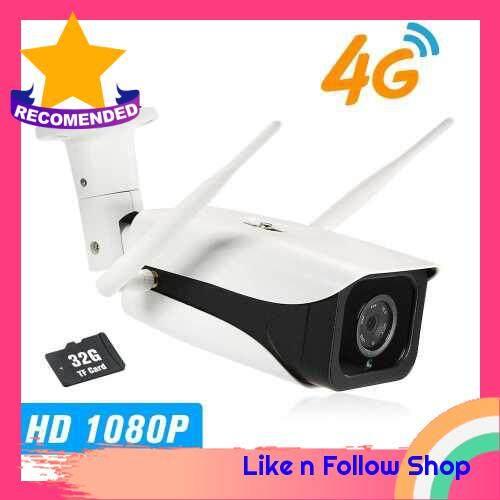 1080P IP Camera 4G1080P IP Camera 4G Wireless IP Camera IR-CUT Night Vision 3G GSM Outdoor Waterproof CCTV Camera Video Surveillance Onvif IP Cameras with SIM Card Slot (White)