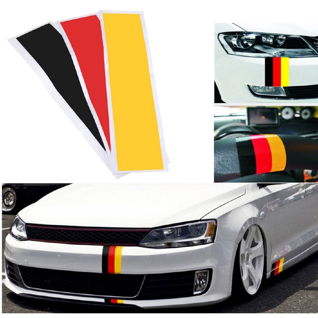 Car Stickers - 3 Strips/ SET Germany Flag Color Stripe DIY Decal Sticker For Audi BMW Mercedes - Accessories