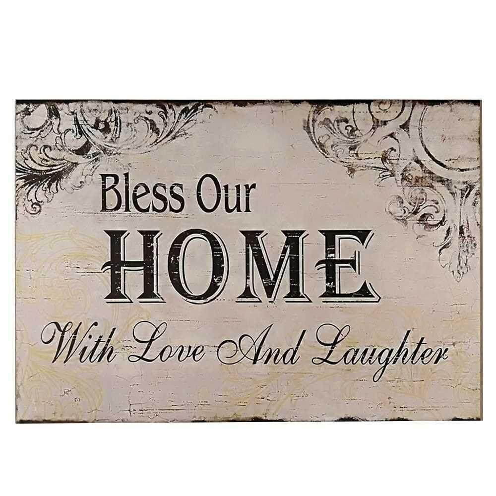 Decorative Wood Wall Hanging Sign Plaque Bless Our Home with Love and Laughter Off White Black Homes Decor