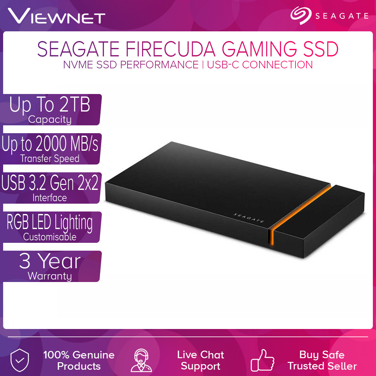 Seagate FireCuda Gaming SSD (1TB / 2TB) with USB-C Connection, Up To 2000MB/s Transfer Speed, Customisable RGB LED Lighting , USB 3.2Gen 2x2, NVMe SSD Performance