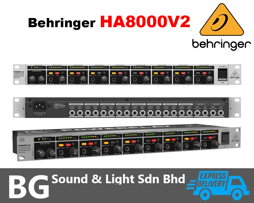 [SHIP OUT EVERYDAY]Behringer Powerplay HA8000 V2 8-Channel High-Power Headphones Mixing & Distribution Amplifier