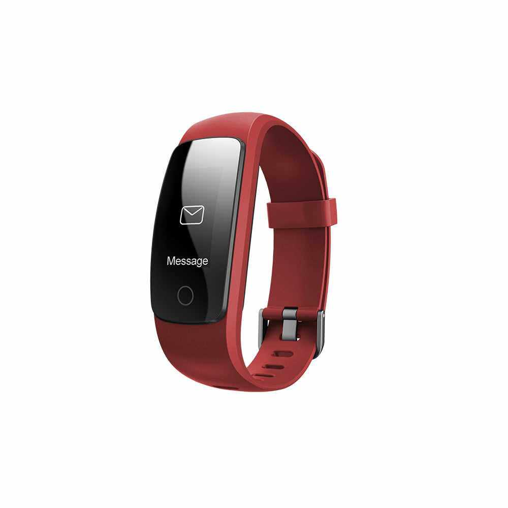 """OLED Water-Proof BT4.0 Smart Wrist Band 0.96"""" Touch Screen Smart Bracelet Fitness Tracker Heart Rate Pedometer Sleep Monitor Alarm for IOS 7.1 & Android 4.4 or Above (Red)"""