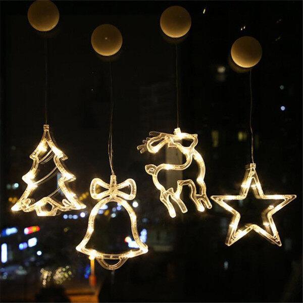 Đèn Chùm Treo Trần Nhà Có Dây Hút Đèn LED Giáng Sinh Có Chuông Ấm Áp Hình Nai Sừng Tấm Trang Trí Cây Giáng Sinh Đèn Dây Bố Trí Cảnh Quan