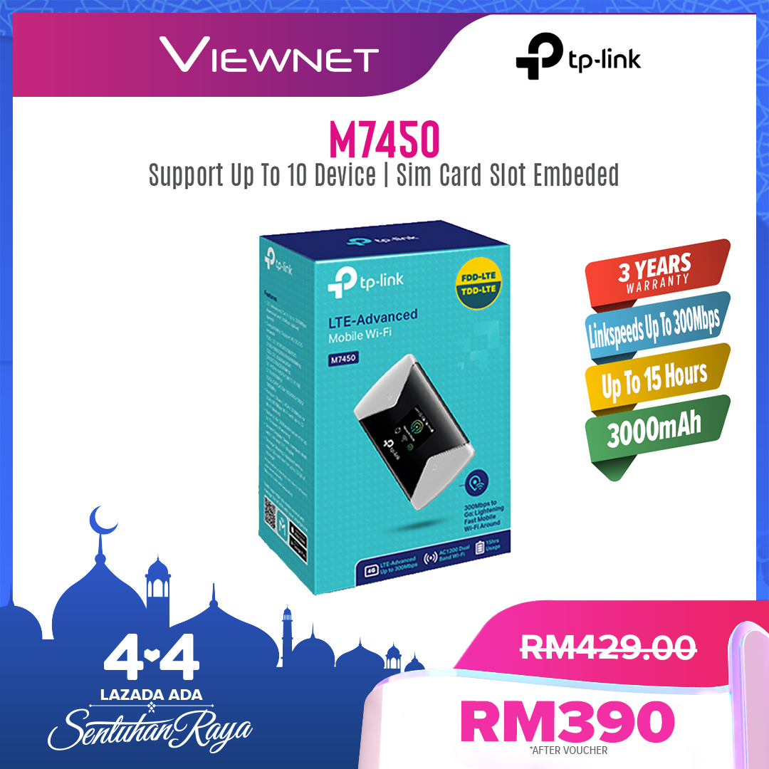 Tp-Link M7450 300Mbps 4G LTE AC1200 Mobile Wi-Fi Router