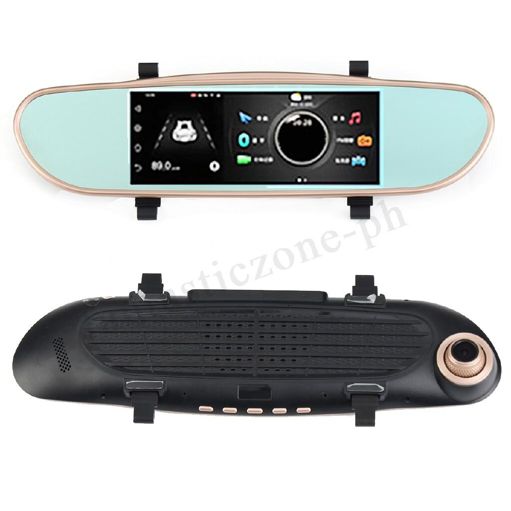 Engine Parts - 7'' Car 1080P Dual Lens Car Mirror DVR Dash Camera Video - Car Replacement