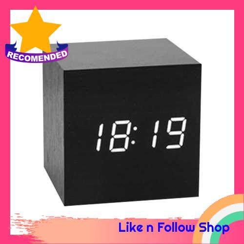 Wooden LED Alarm Clock Intelligent Electronic Clock Desktop Table Voice Control Snooze Function Clock (Black)