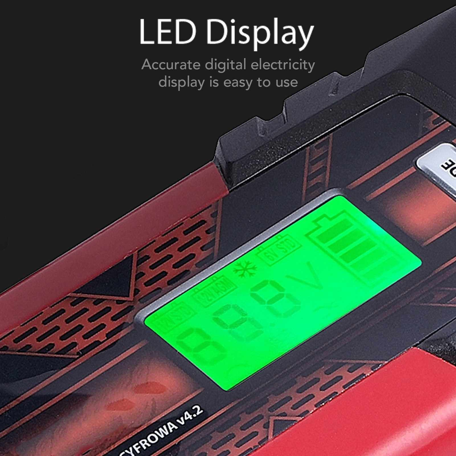 People's Choice 12 V 4.5A 3-Stage Automatic Intelligent Battery Charge Device with LCD Display for AGM GEL SLA WET Batteries (Uk)