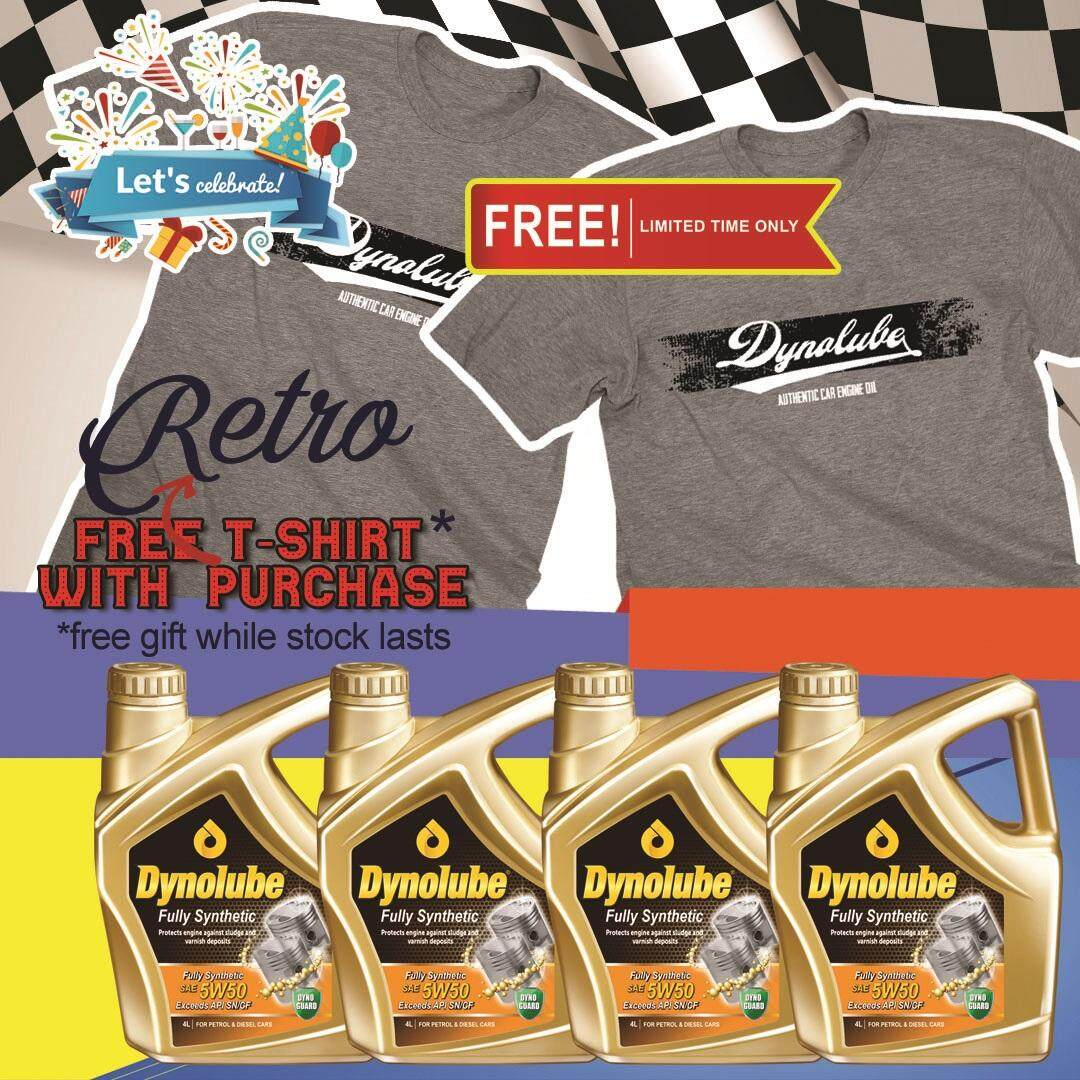 Dynolube 5W50 SN/CF Fully Synthetic 4Liter (For Turbo Engine) Engine Oil X 4 Bottles FREE T-Shirt (G) X 2pcs