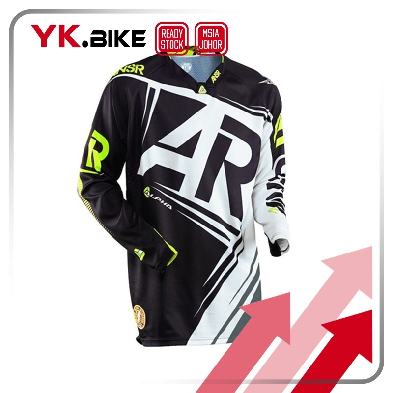 YKBIKE [LOCAL READY STOCK] Downhill Jersey Black White Long Sleeve Bicycle Clothing Dirt Bike Sun Protection Outdoor APL31