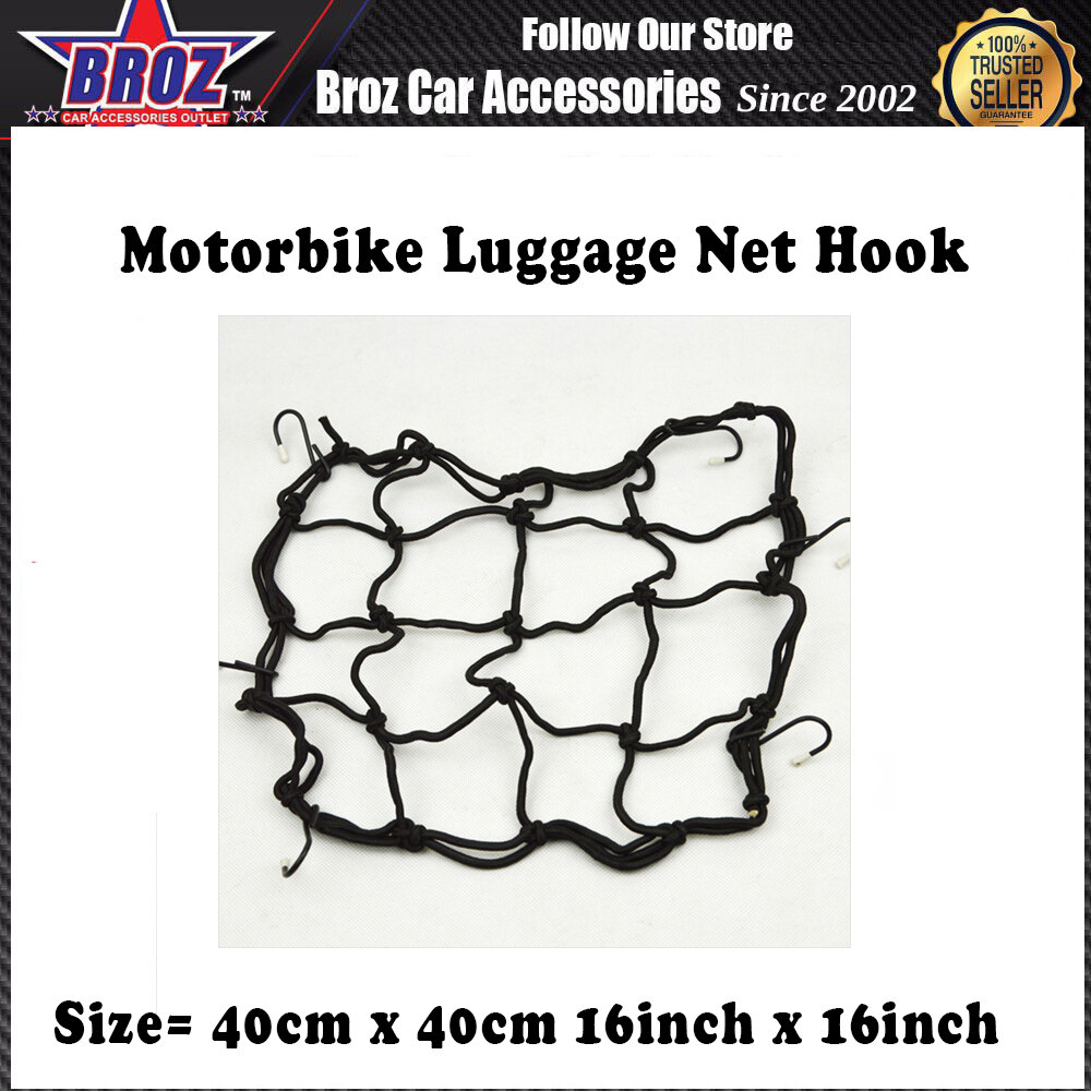 Motorcycle Bike Bicycle Luggage Net with six Hook Storage Trunk Bag Motorcycle Pocket Container Cover Net-Black (40 x 40cm, 16 x 16 inch)