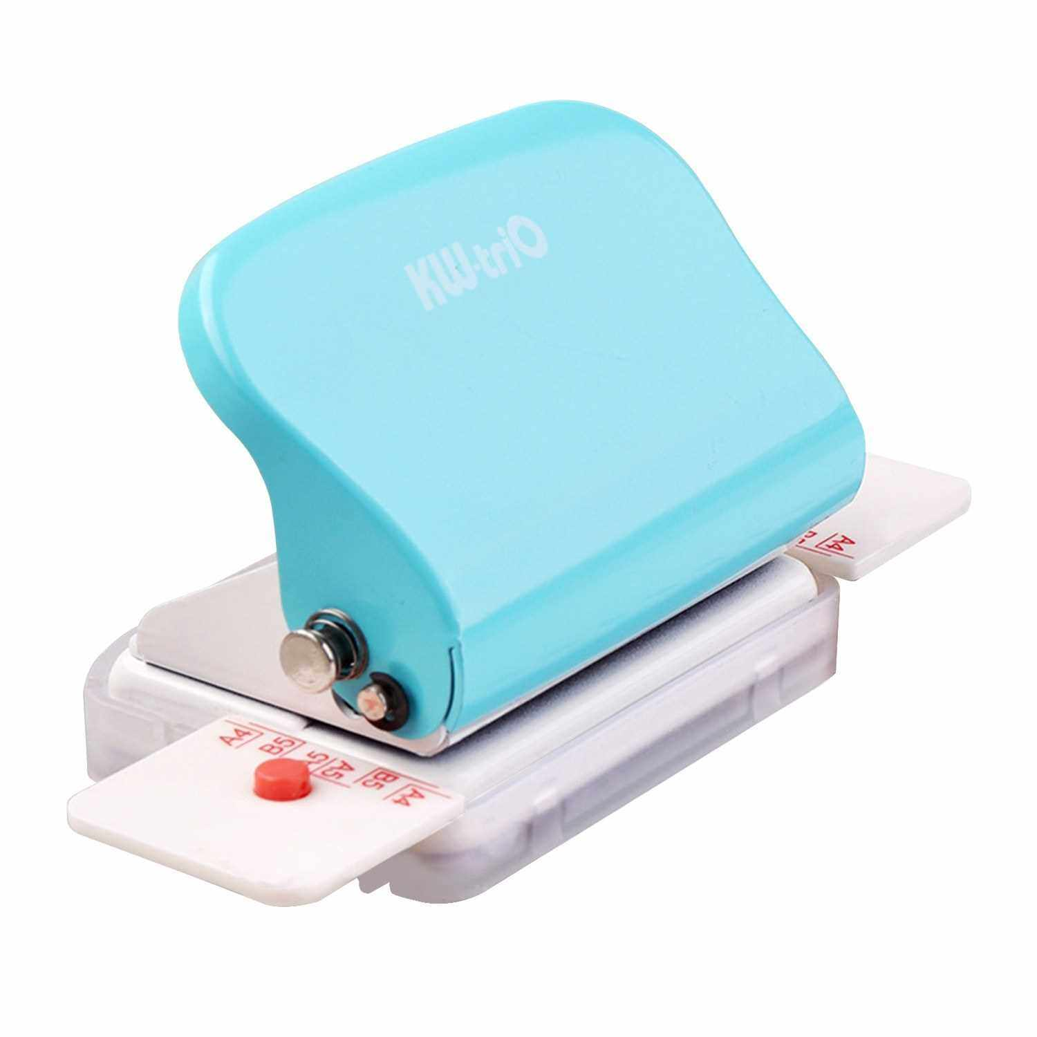 KW-trio 6-Hole Paper Punch Handheld Metal Hole Puncher 5 Sheet Capacity 6mm for A4 A5 B5 Notebook Scrapbook Diary Planner (Green)