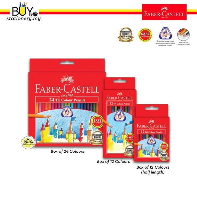 Faber Castell Tri-Grip Colour Pencils- 24L, 12L, 12S (1 Bxs)