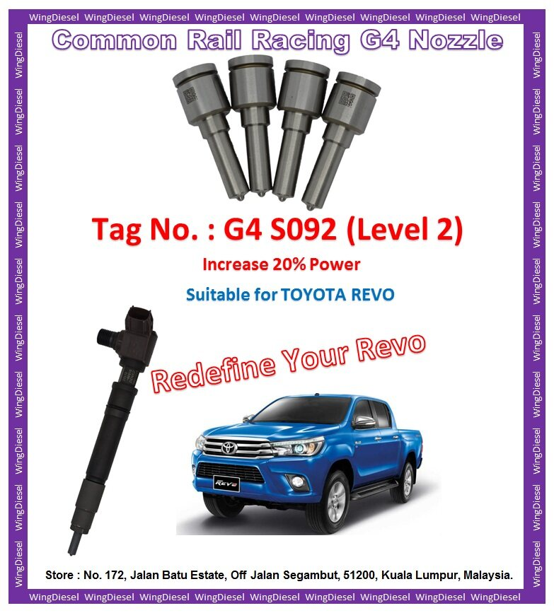 Toyota Hilux Revo high performance racing type nozzles Tag No G4-S092