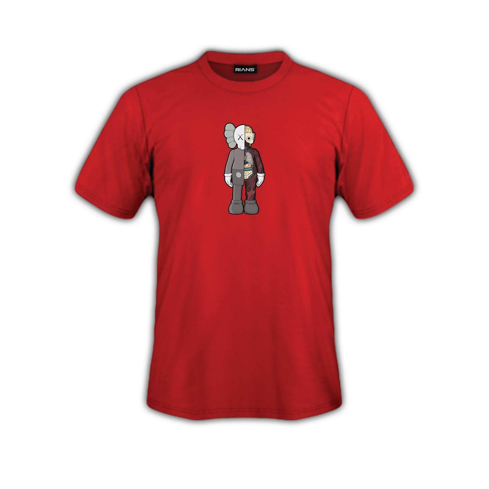 T-Shirt KAWS Berdiri  Viral 4 Colour 100% Cotton Baju Tshirt Black White Hitam Putih Bossku