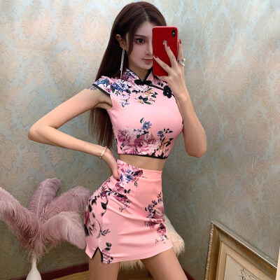 (PRE ORDER) WOMEN CHEONGSAM SPLIT TWO PIECES TOP AND SKIRT