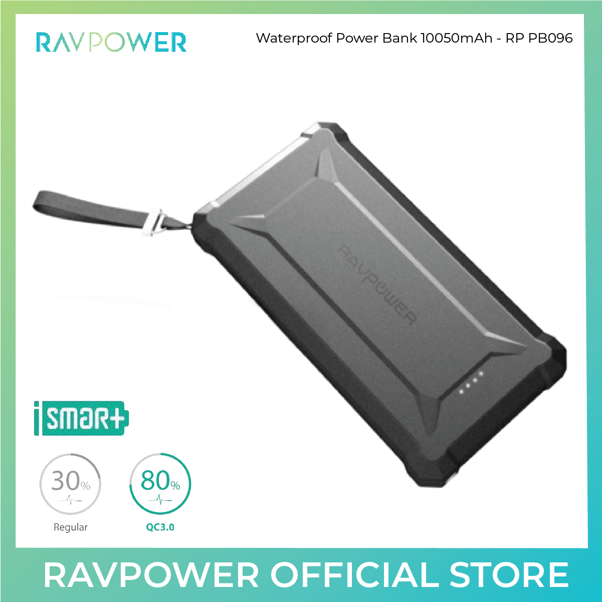 RAVPower Waterproof Power Bank - 10050mAh PD 18W+QC3.0 - RP-PB096