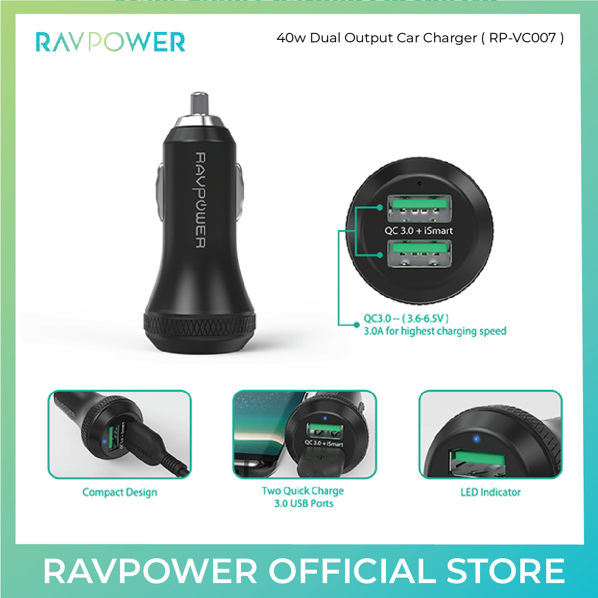 RAVPower 40w Dual Output Car Charger