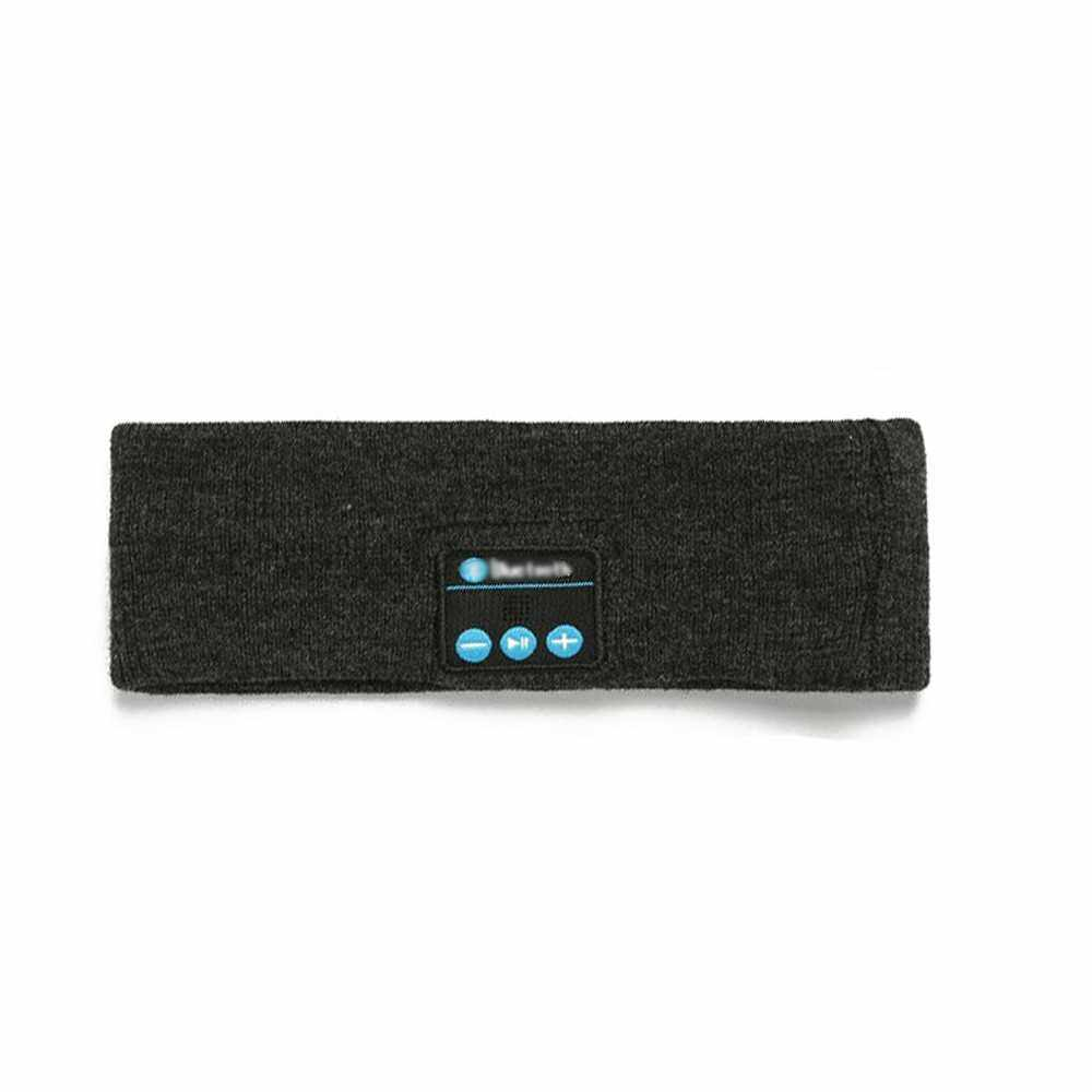 Bluetooth Music Headband Knits Sleeping Headwear Headphone Speaker Headset (Dark Gray)