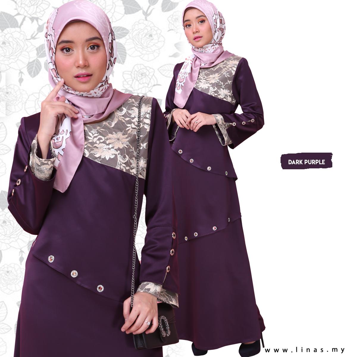 Muslimah Jubah Moden KHALISHA by LINAS FASHION for Umrah / Casual Wear / Office Wear - Ready Stock