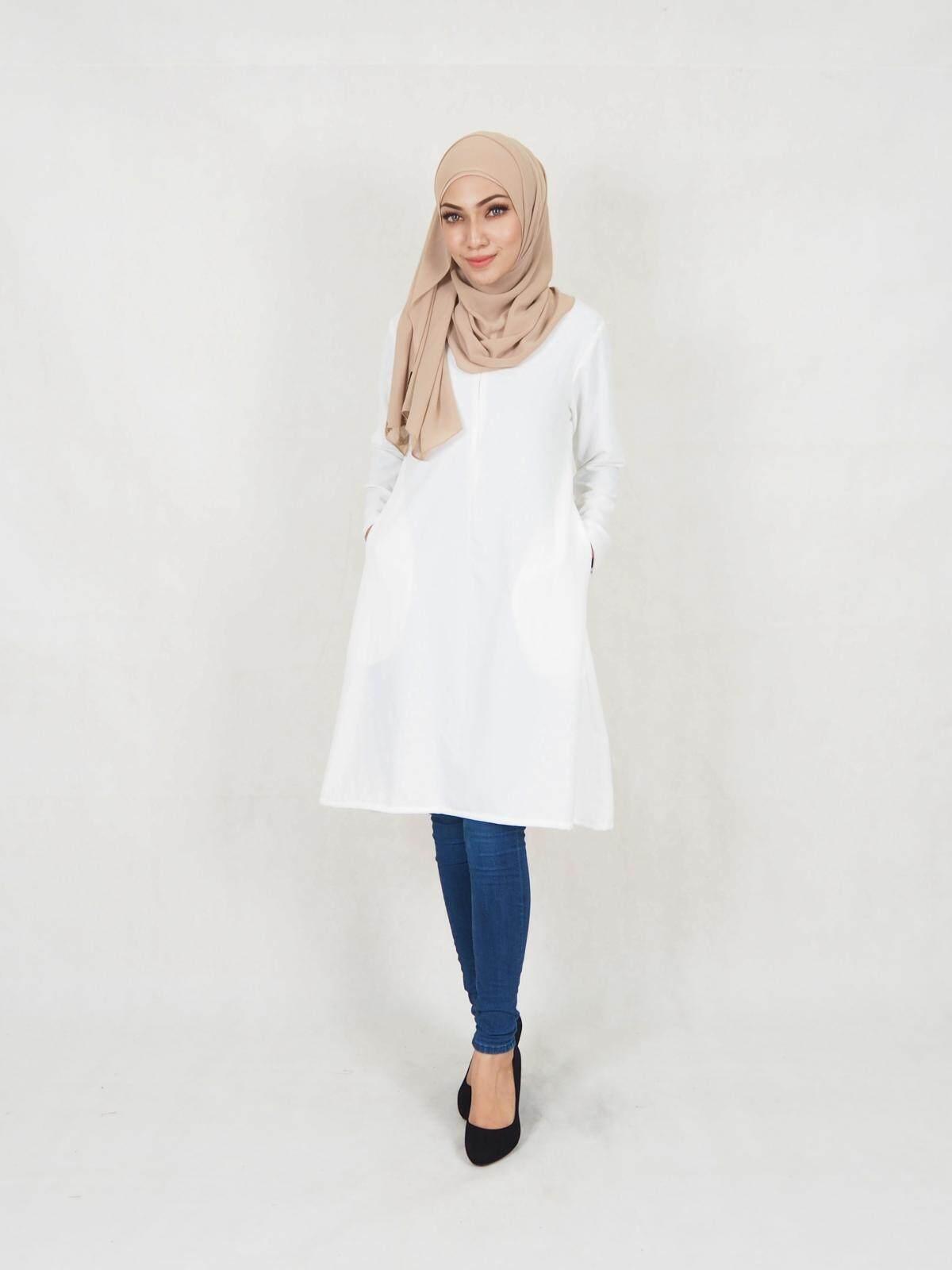Fadilah Modern Blouse / Muslim Women Blouse / Muslimah Fashion Blouse (S-XL) / Long Blouse / Baju Long / Stylish Long Blouse / Modern Blouse Front Zip Sleeve Zip side Poket / Murah / Ship from Malaysia / Hot Product / Ready Stock