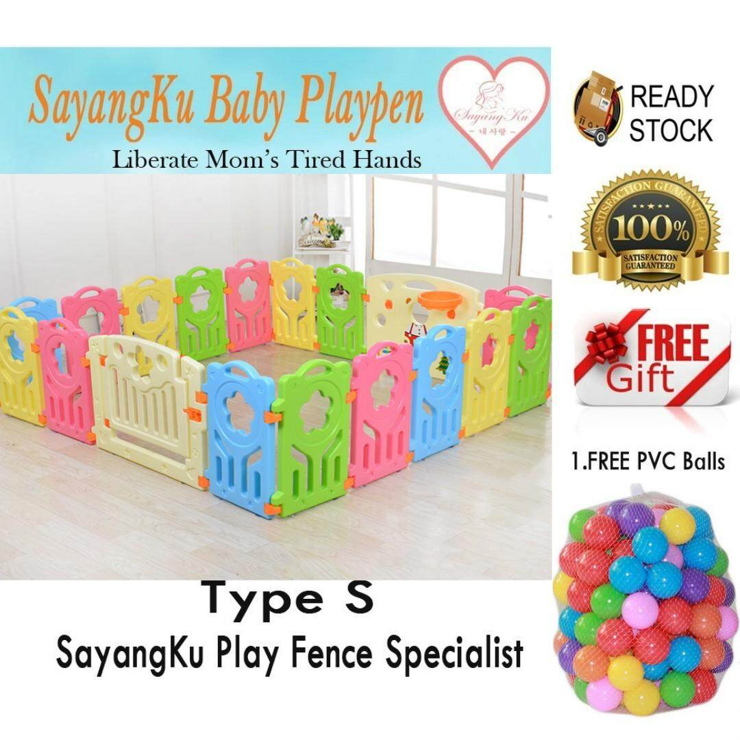 S (12+2) Free 50 Balls !! {Biggest Year End Sales!!!} SayangKu 14pcs Baby/Kids Safety Play Fence Playpen Home PlayYard Gate