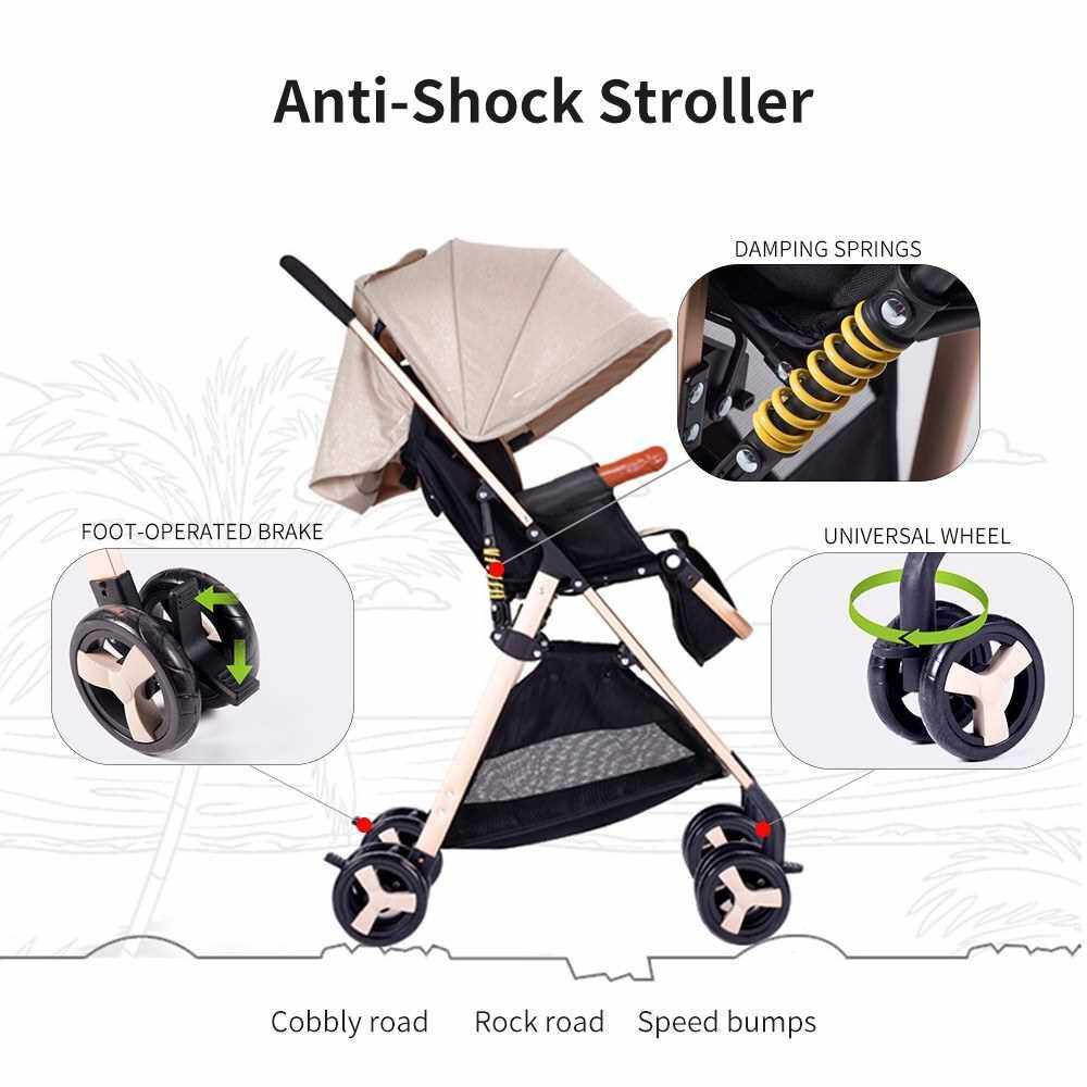 Baby Stroller High View Pram One Step Fold Lightweight Convertible Baby Carriage with Multi-Positon Reclining Seat Extended Canopy for Infant Toddler (Blue)