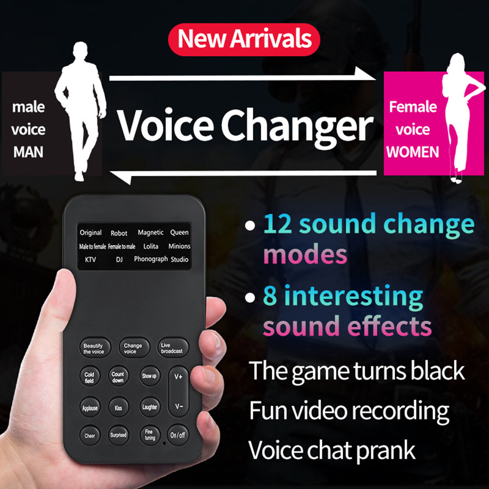 Muslady SK5 Upgraded Version Multi-functional DSP Sound Card Voice Changer with 8 Changing Voices 5 Atmosphere Effects Wireless BT Accompaniment Universal for Mobile Phone and Computer