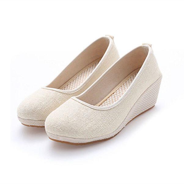 ♪ Old Bắc Kinh nữ trang giày thêu giầy lụa gân giày cao gót chân áo trắng tinh khiết giày y tá trắng trắng trắng giày giày giày nữ xuân và giày mùa thu ♪ dfw4rthkjhk giá rẻ