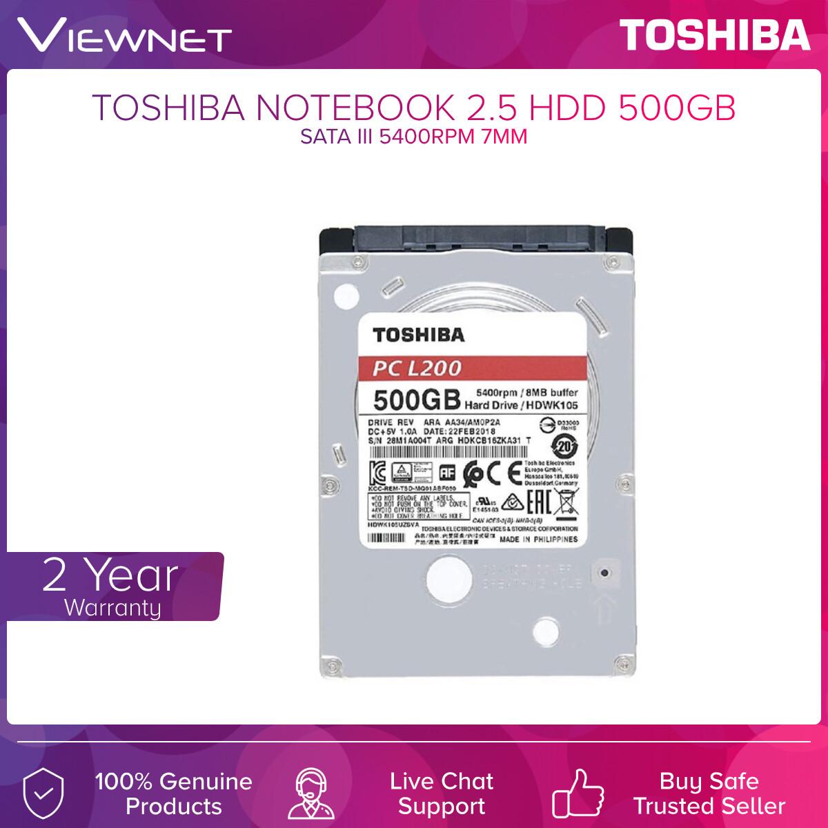 Toshiba Nb Hdd Sata III 8mb 5400rpm 7mm 500gb / 1tb (L200)
