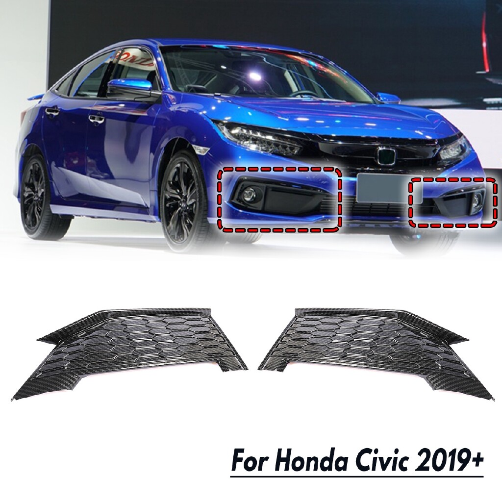 Automotive Tools & Equipment - 2Carbon Fiber Pattern ( L+R ) Front Fog light Lamp DRL Cover Trim For Honda Civic - Car Replacement Parts