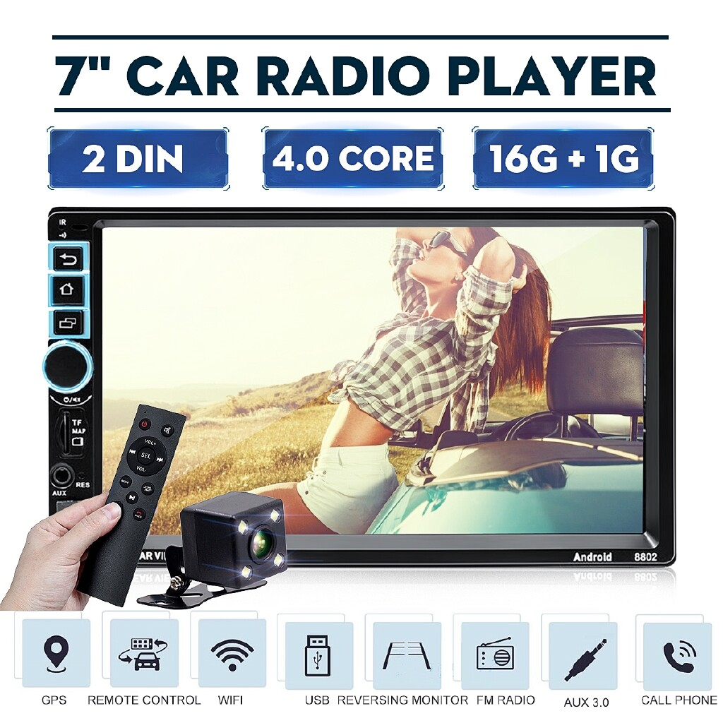 Car Multimedia Players - 7 Android Double DIN 16G Quad Core GPS BLUETOOTH Car Stereo MP5 Player FM AUX - Electronics