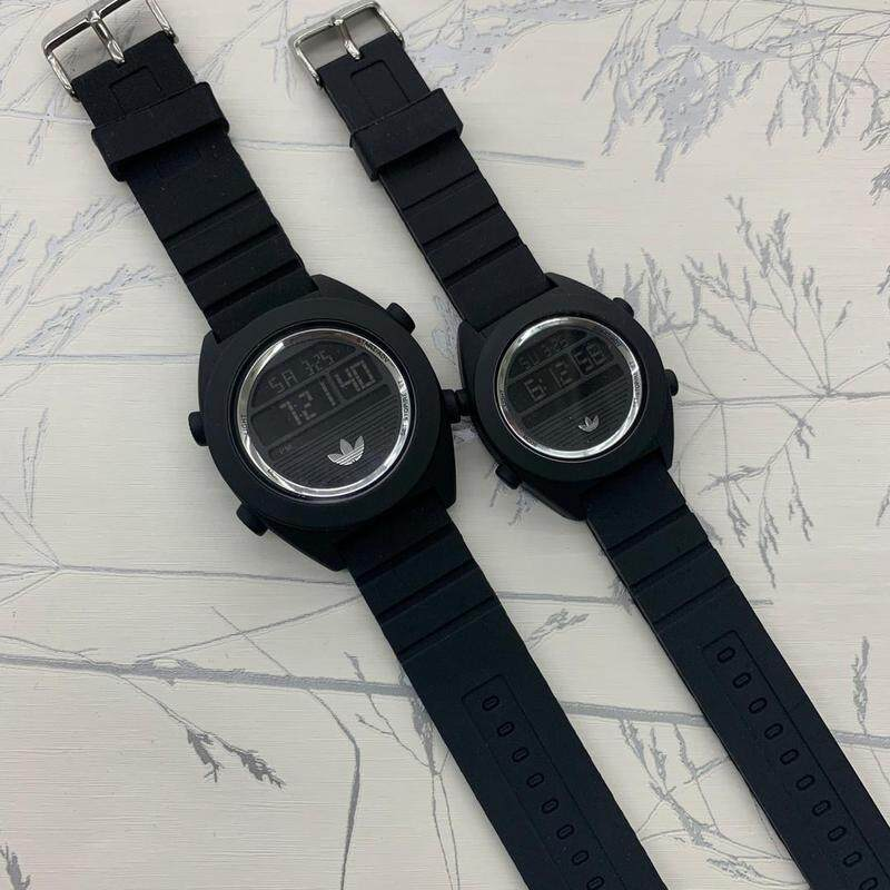Ready Stock Couple Set for Men & Women_ADDEDAS_Digital Couple Watch rubber Strip Digital Time Display Dial For Unisex