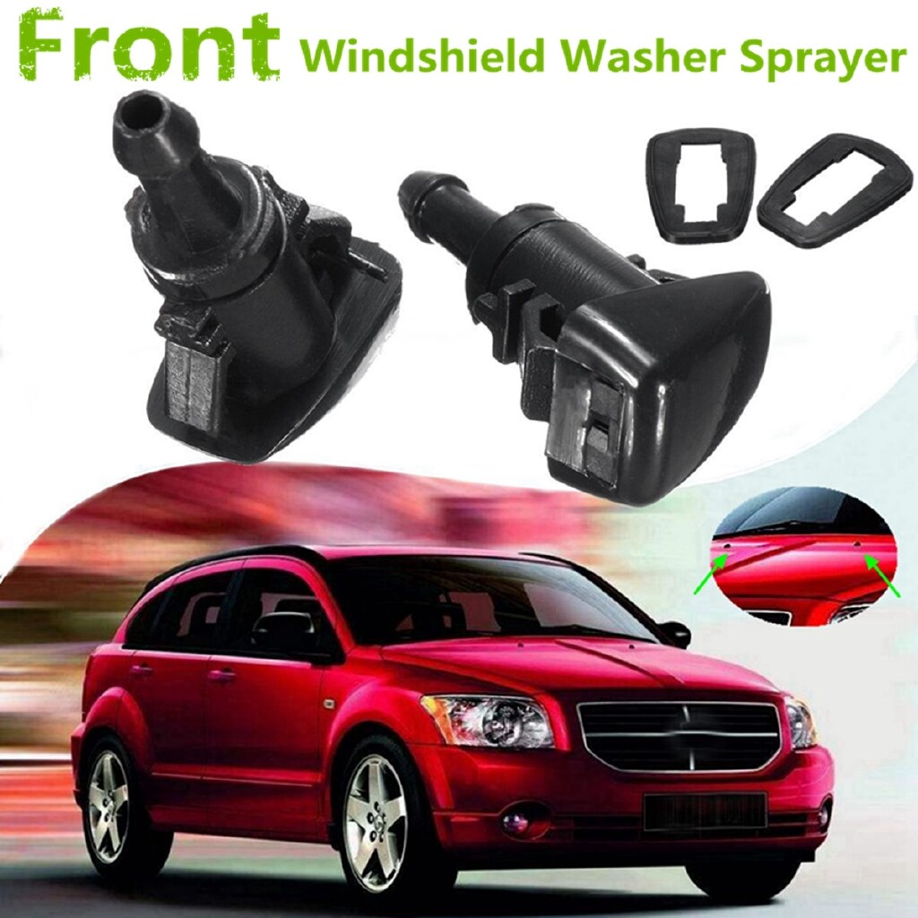 Windscreen Wipers & Windows - 2x Windshield Wiper Spray Nozzle Jet Washer For 07-12 Dodge Caliber 5160308AA - Car Replacement Parts